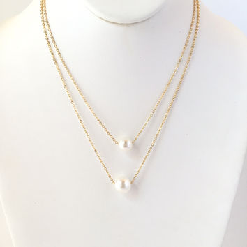 Ocean Secret Pearl Layered Necklace In Gold