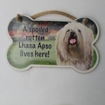 "Dog Lovers' Decorative Dog Bone Shape Wooden Wall Plaque Sign 10' X 5"" - A Spoiled Rotten Lhasa Apso Lives Here!"