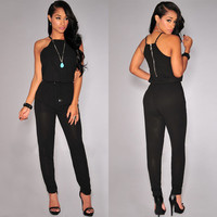 Black Sleeveless Racer Back Jumpsuit