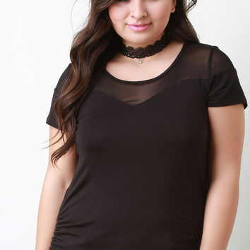 Mesh Yoke Tee With Lace Choker Necklace