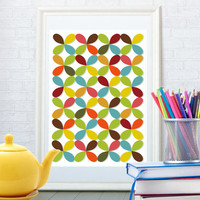 Abstract floral pattern print, Kitchen art poster, Child wall art, Bright home decor, Mid century modern