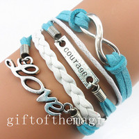 love,courage,&infinity karma charm Bracelet Antique silver--cotton ropes leather bracelet-- gift for girl friend,boy friend 784