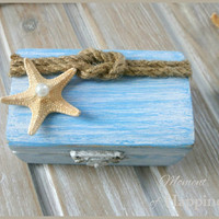 Beach Wedding Ring Box  Blue wooden Nautical Box with Sea star Wedding Ring Bearer Holder Ring Bearer Jewelry storage