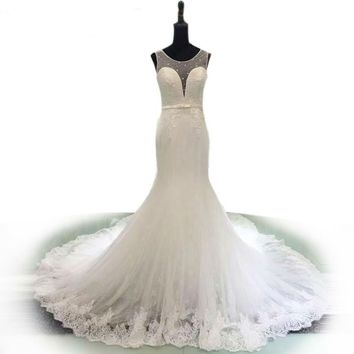 Elegant Bow Romantic Wedding Dresses Hollow Out Mermaid Wedding Gown Beaded White Lace Bridal Dress