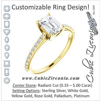 Cubic Zirconia Engagement Ring- The Tanisha (Customizable Cathedral-set Radiant Cut Design with Thin Pavé Band)
