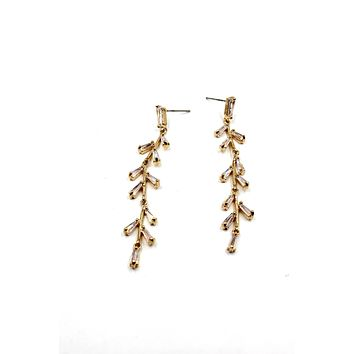 elegant tree branch crystal earrings