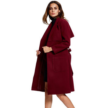 Womens Long Wool Coat Split Hem Pockets Self Tie Abrigos Mujer Invierno Notched Collar Long Sleeve Outerwear Trench Coat SM6
