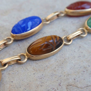 Ladies Scarab Bracelet 14k yellow gold Egyptian 7 stone oval oblong carved agate