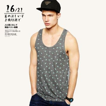 CREYLD1 35 Styles Hot Summer Men's Fashion Boutique Quality Cotton Printing Leisure Vests Tank Tops Men Hurdles Vest T-shirt Sleeveless