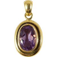 Luminous amethyst pendant in 18K solid gold, French stamped gold jewelry, natural purple gemstone, Fine jewelry