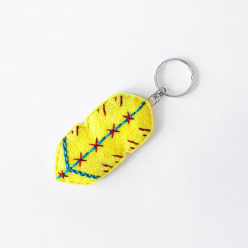Yellow feather keychain, neon yellow, hand embroidered tribal accessory, woman keychain gift idea