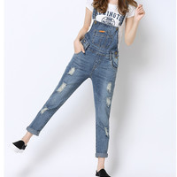 Fashion All-match Denim Overalls Strap Jumpsuit