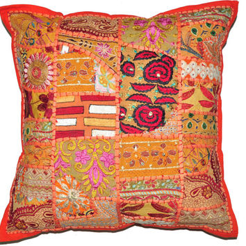 24X24 XL Orange Decorative Accent Pillow, Gypsy Throw Pillow for Couch, Boho Patchwork pillow, Ethnic Indian Pillow, Cottage Pillow, Antique