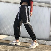 Women Fashion Irregular Webbing Stitching High Waist Letter Strappy Leisure Pants Trousers Sweatpants