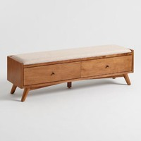 Linen and Acorn Wood Brewton Bench