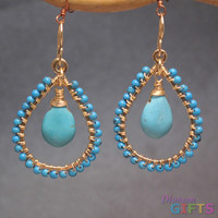 "Hammered hoops with Sleeping Beauty turquoise, 1-3/4"" Earring Gold Or Silver"