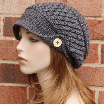 Charcoal Gray Newsboy Hat - Womens Slouchy Newsboy Beanie Hat - Crochet Newsboy Hat with Buttons // THE FINLEY//