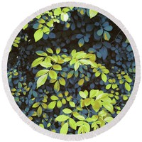 Foliage Hues - Dark Blue And Green Round Beach Towel
