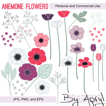 Anemone Flowers Hand Drawn Clipart Commercial Use Vector Graphics Digital Clip Art Digital Images Royalty Free JPG PNG EPS 10