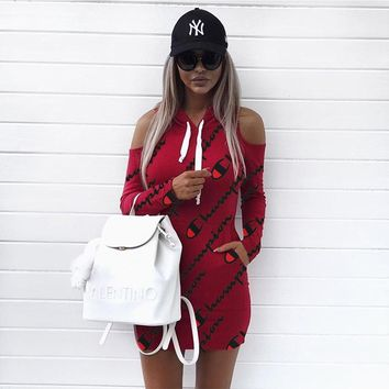 Champion Women Off Shoulder Hooded Bodycon Mini Dress