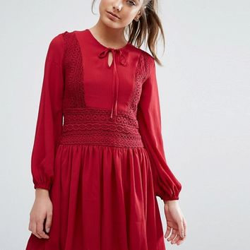 Boohoo Lace Insert Skater Dress at asos.com