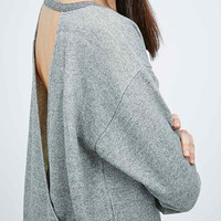 Light Before Dark Wrap Back Sweatshirt in Grey - Urban Outfitters