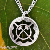 Fireman Maltese Cross Necklace with Axes hand cut by NameCoins