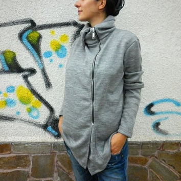 NEW Fall Winter Collection / Grey Loose Asymmetric Top / Extravagant Zip Sweatshirt /Casual Warm Cotton Hooded Coat /  by moShic B002