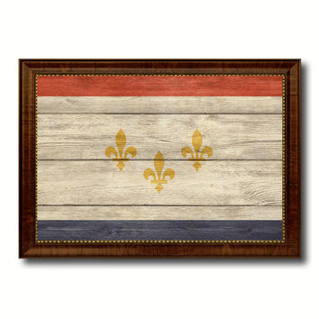 New Orleans  City Louisiana State Texture Flag Canvas Print Brown Picture Frame