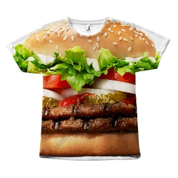 YUM on a Bun Inspired By The Whopper Burger All Over Print Tee