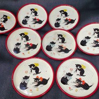 Round Metal Coasters  Kittens Cats Flowers Bows Vintage Decorative