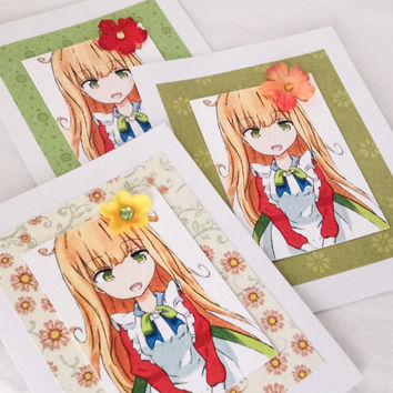 Anime style teen birthday card - Anime maid - Anime ACEO - hand embellished greeting card - flower girl  - blank inside