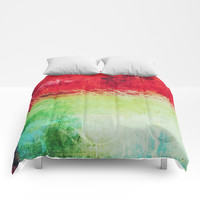 Modern Texture Red Abstract Comforters by Sheila Wenzel