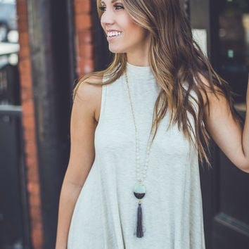 Turtle Neck Shift Dress in Oatmeal
