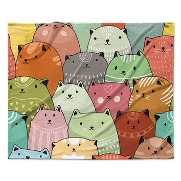 "Snap Studio ""Kitty Attack"" Cat Illustration Fleece Throw Blanket"
