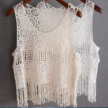 Knitted Tasseled Crop Top in Beige