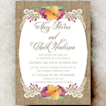 Burlap Lace Wedding Invitation - Country Wedding, Southern Wedding, Rustic Wedding, Shabby chic wedding, cottage chic wedding