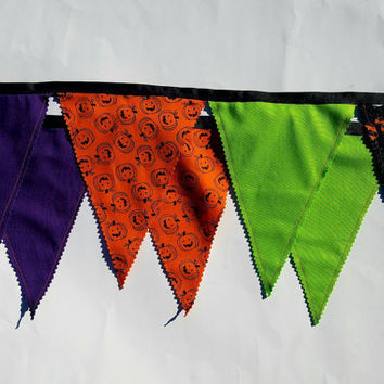 Fabric Halloween Banner, Halloween Decorations, Halloween Party, Halloween Decor, Banner for Halloween Party, BOO banner, Pumpkin Banner