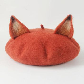 2017 Autumn And Winter New Pattern Manual Wool Blanketry Literature Lovely Fox Ears Beret Originality Manual Painter Hat