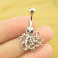 bellybutton jewelry octopus belly button ring octopus belly button piercing, belly ring