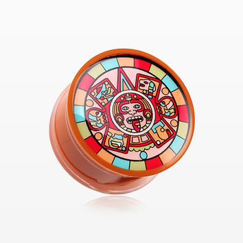 A Pair of Chromatic Mayan Calendar Single Flared Ear Gauge Plug