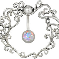 14g Surgical Steel Reverse Mount Aqua CZ Belly Button Ring Shield