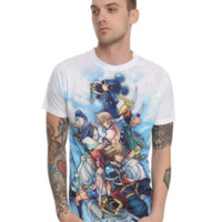 Disney Kingdom Hearts Characters Sublimation Slim-Fit T-Shirt 2XL