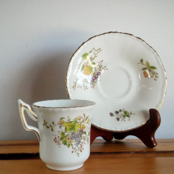 Vintage Coalport Demitasse cup, Danbury Mint teacup fruit design set