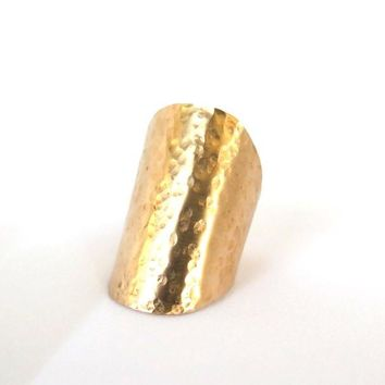 Long hammered ring, bronze shield ring, hammered thumb ring