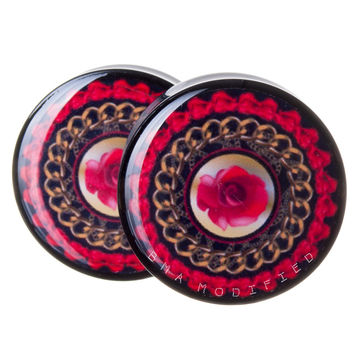 Chains & Rose Vintage Scarf Print BMA Plugs (2.5mm-60mm)