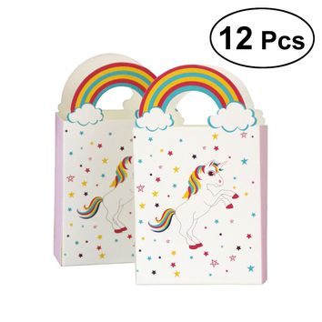 Unicorn Paper Bags With Rainbow Handle Party Candy Unique Design Package Bags For Christmas Graduation Baby Shower Decor