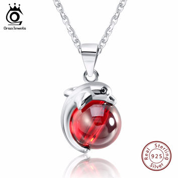 ORSA JEWELS Fashion 925 Sterling Silver Red Natrual Stone Dolphin Pendant Necklaces for Women Genuine Silver Jewelry Gift SN02