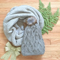 Scarf + Beanie Gift Set in Gray