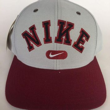 ESBONG6 Vintage Nike 1990's Block Letter Spell Out SnapBack Maroon Gray Hat Cap NOS